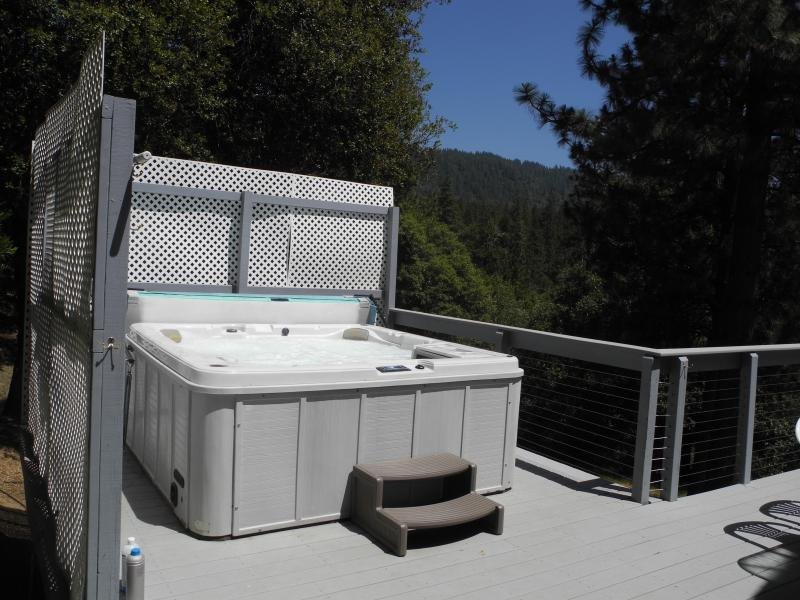 Spa with a view - Knarly Oaks River House, private, spa, view, decks - Yosemite National Park - rentals