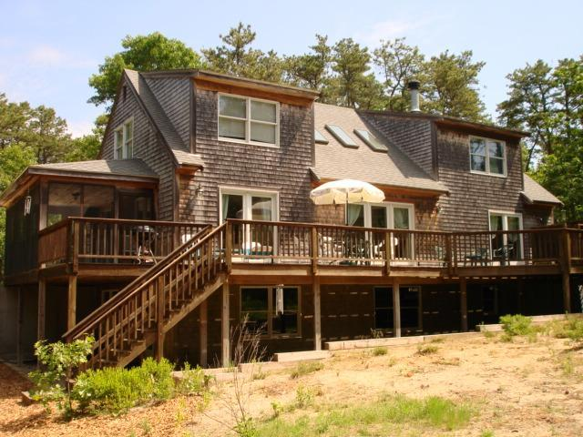 Large deck off living room, screened porch to left off kitchen - Convenient to Ocean beach  Internet Screened Porch - Wellfleet - rentals
