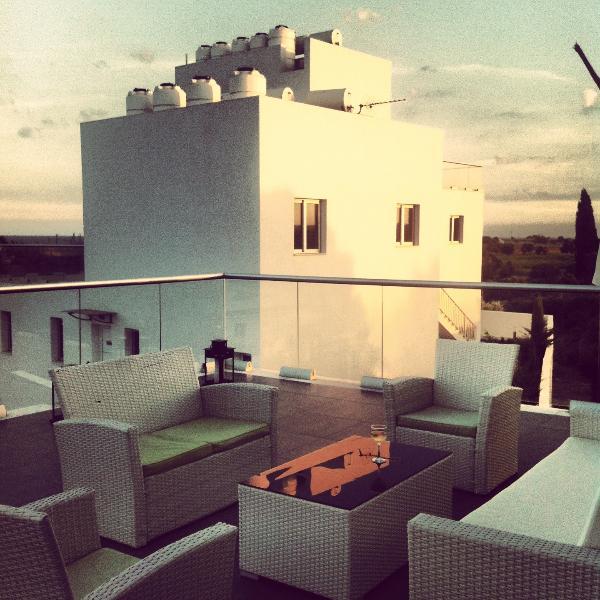 Penthouse Terrace at sunset - High View Gardens Penthouse, Mazotos, Cyprus - Mazotos - rentals