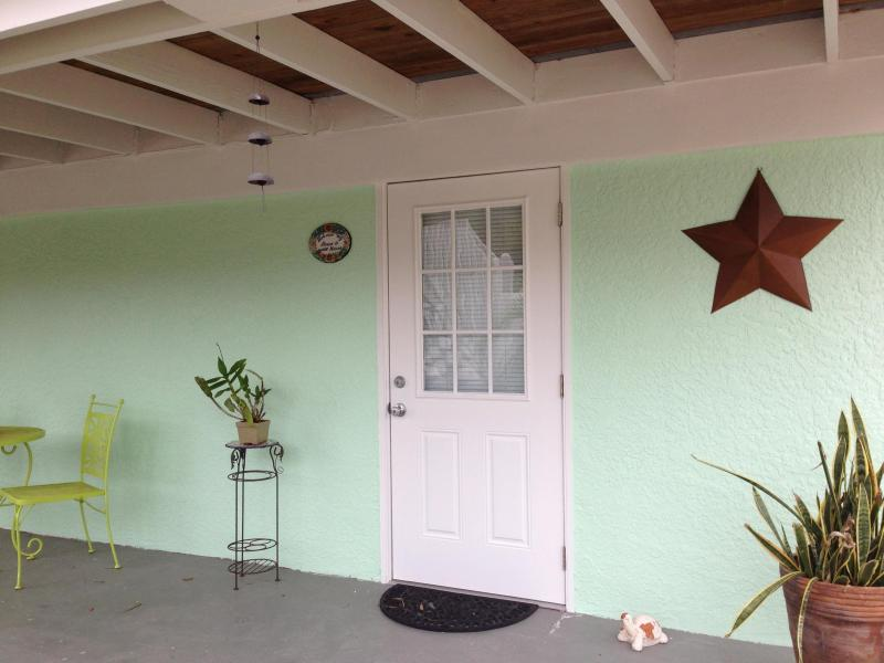 Front door - Sugar Cottage - Steps from the Beach & Pool! - Fort Myers Beach - rentals