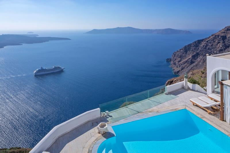 Seaview - Blue Villas | TC | Gorgeous pool area - Firostefani - rentals