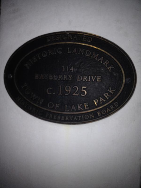 Historic Landmark Plaque on Front Pillar - 1925 Cottage on Lushly Landscaped Property - West Palm Beach - rentals