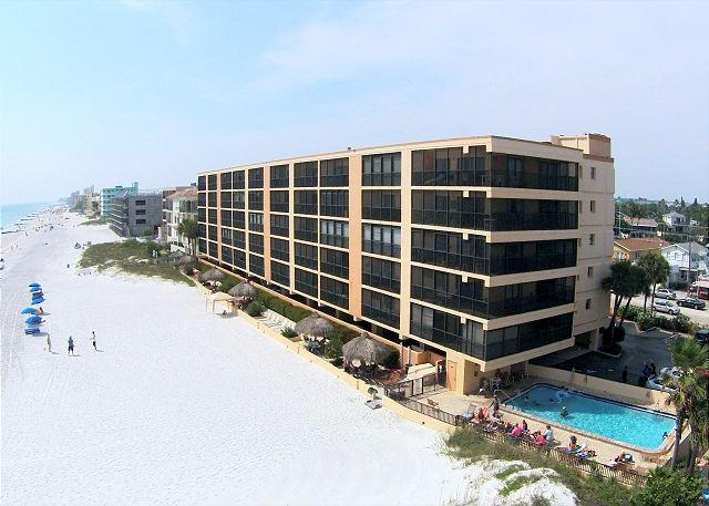 Aerial View - Villa Madeira facing the Gulf of Mexico with beach side pool. - Villa Madeira #206 - Madeira Beach - rentals