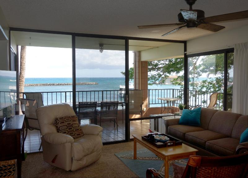 Direct ocean front with 180+ degree views of harbor, beach and ocean waves - Direct Ocean Front - Large spacious lanai - Maalaea - rentals