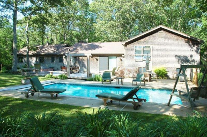 Pool, Deck and Patio Area - MONEN - Vacation Retreat, Heated Pool, AC, WiFi, Close Proximitity to Towns and Beaches , Perfect Home for Extended Families. - Vineyard Haven - rentals