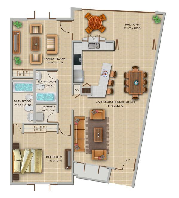 Floor Plan - Whyndham Rio Mar 2A Bedrooms; Up to 40% Off! - Rio Grande - rentals