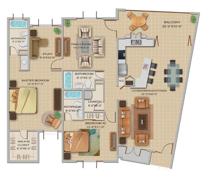 2 Bedroom Floor Plan - Las Vistas de Rio Mar 2B Bedrooms; Up to 40% Off! - Rio Grande - rentals