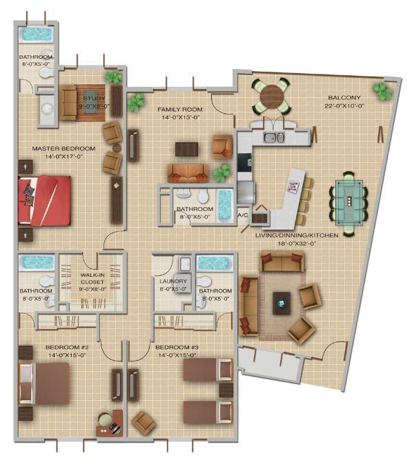 Three Bedroom Floor Plan - Whyndham Rio Mar, 3A Bedrooms; Up to 40% Off! - Rio Grande - rentals