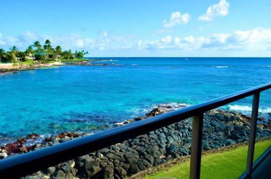 lanai view - Free Car* Kuhio Shores 208 - Beautiful 1bd oceanfront with stunning ocean views. Next door to Lawai Beach. - Poipu - rentals