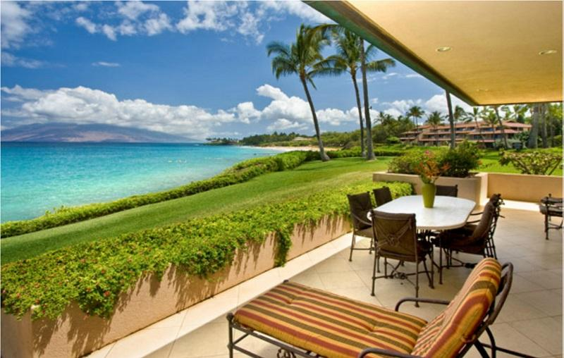 Private deck with oceanview - sample - Makena Surf Resort - 3-BR Beachfront Wailea Condos - Wailea - rentals