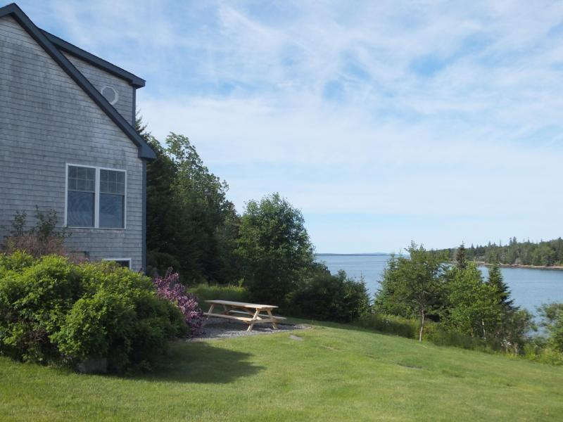 Your picnic view of Duck Cove from the patio at Blue Heron Tide. - Seaside Cottage, 4 BRs, Private Beach, Great Views - Southwest Harbor - rentals