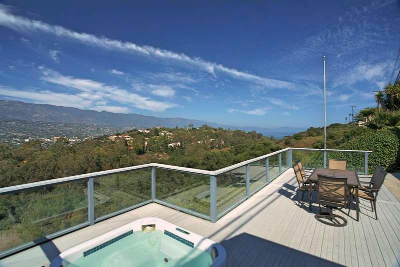 Back Deck with City and Ocean Views - Crown of the Mesa - Santa Barbara - rentals