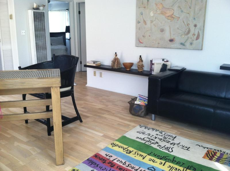 "See wool carpet, small couch, table and comfy stools for working, or just planning dinner reservation - TUCKED AWAY, 1 room,VENICE ""BIRDS NEST"" BEACH LOFT - Los Angeles - rentals"