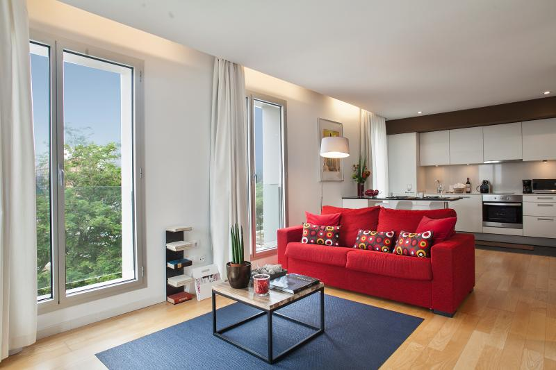 Large living room  - Mistral City Beach Apartment with Pool & Sea view (1BR) 3.3 - 10% OFF MARCH STAY - Barcelona - rentals