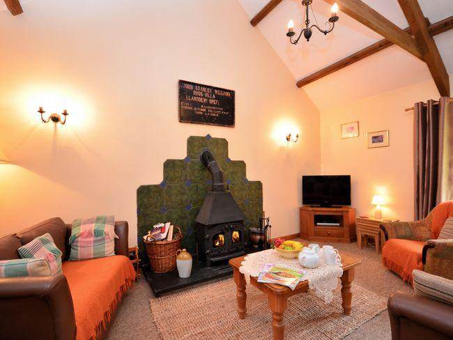 Lounge area with woodburner - TEIBA - Llanfair Clydogau - rentals