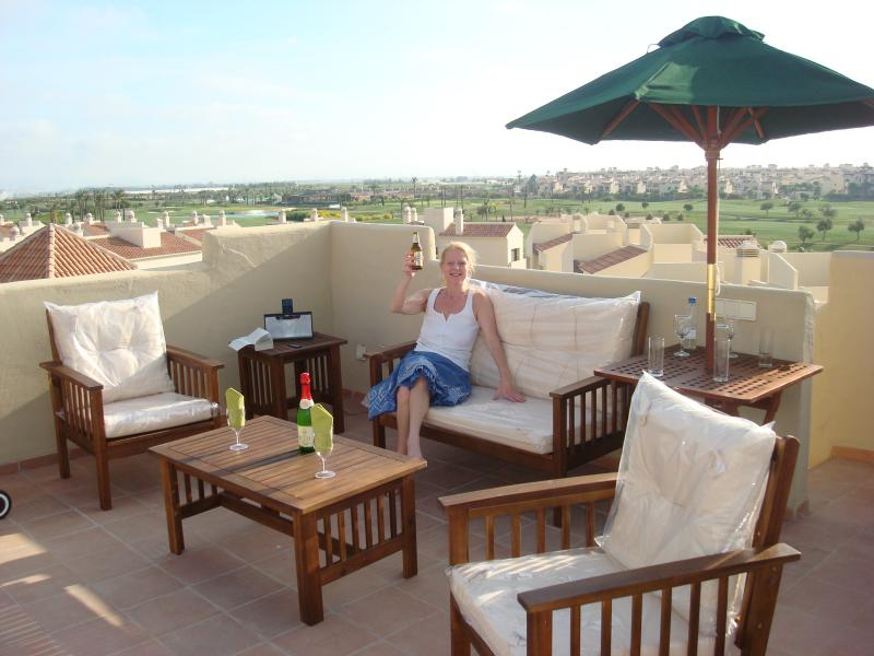 Large Roof Terrace, BBQ and Furniture - overlooking golf course - Roda Golf - Luxury 2 bed PENTHOUSE - Los Alcazares - rentals