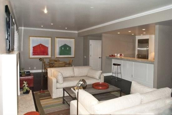 Large combined living and dining with access to the deck and views of Baldy - Larkspur #302, Ketchum -Great newly remodeled Luxury condo - Extended Stay Condo - Ketchum - rentals