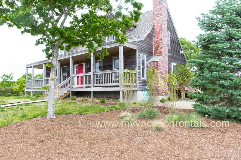Entry Side of Main House - PANDC - Coffin's Field Main and Guest Apartment, WiFi, Wrap Around Porch and Spacious Deck, 8 Minute Drive to Gorgeous Trustees / Long Point Beach - Martha's Vineyard - rentals
