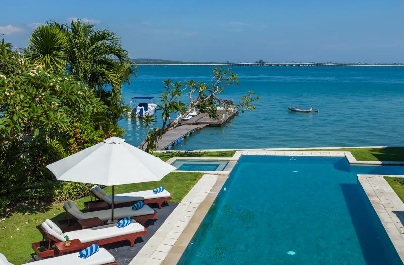 Master balcony views - Waterfront villa Sunset. HOT 1-, 2- & 3-bdr rates. - Nusa Dua - rentals