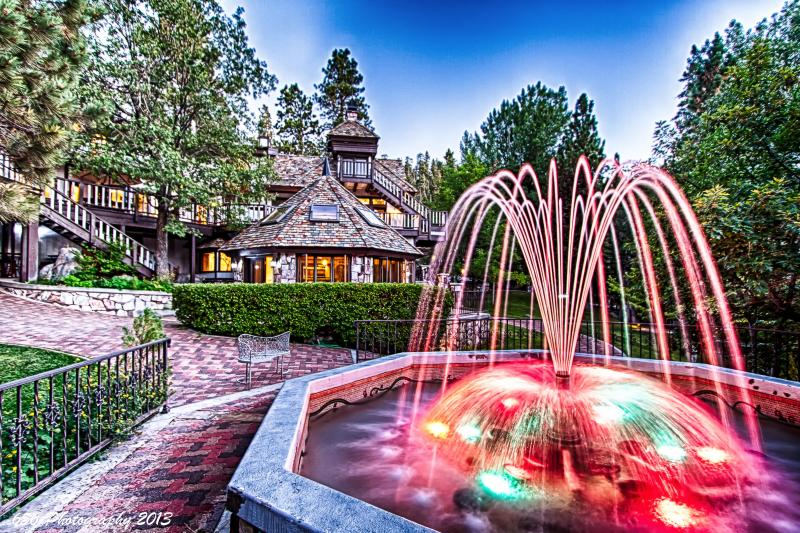Colored lights on Fountain - Edgewood Castle 15,000sf 5 star luxury Sleeps 24! - Big Bear Lake - rentals