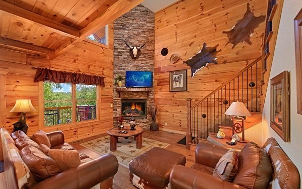 Living Room with Stone Stacked Gas Fireplace, 52' HDTV/DVD - Gorgeous &  Luxurious 3/5-Unbeatable location! - Pigeon Forge - rentals