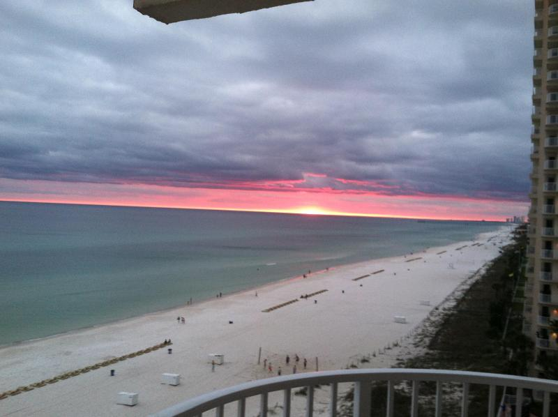 View of shoreline from balcony - Shores of Panama #829 - Wrap around end unit - Panama City Beach - rentals