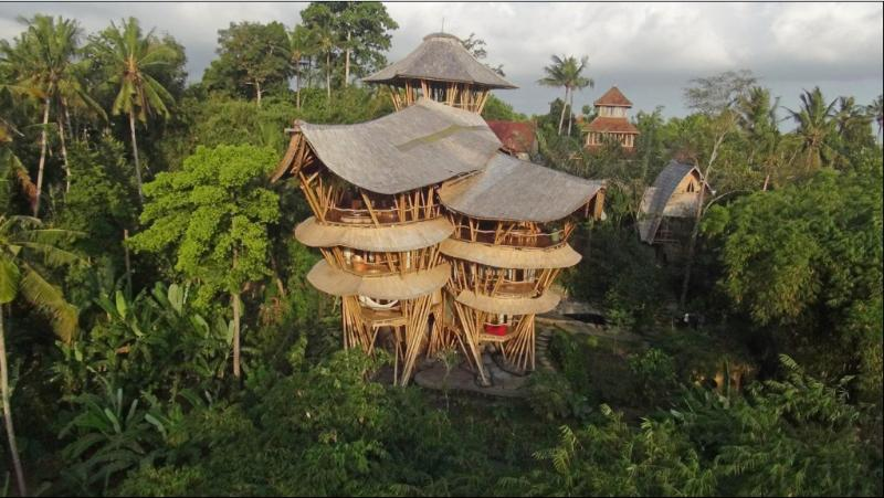 As seen from across the Ayung River valley - Extraordinary 5 floor Bamboo Palace on River Edge - Mambal - rentals