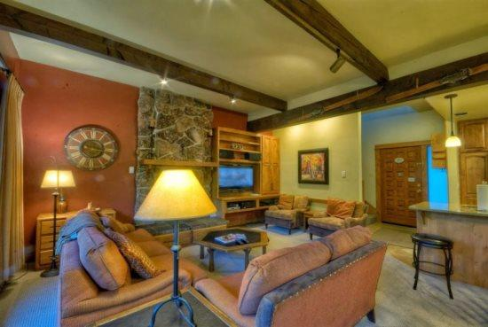 Open Living Area, Kitchen and Dining Area, Flat Screen TV, Gas Fireplace - Storm Meadows Townhome 23 - Steamboat Springs - rentals
