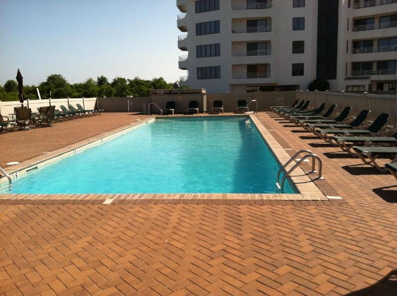 Pool:  Building in back is not our complex - SUNNY with OCEAN Views and POOL - Brigantine - rentals
