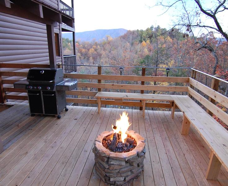 Deck with Beautiful 20 Mile View of the Mountains, Gas Fire Pit, Weber Gas Grill, Outdoor Speakers - SECLUDED,20 Mile View,Movie Rm,Waterfall,King Beds - Pigeon Forge - rentals