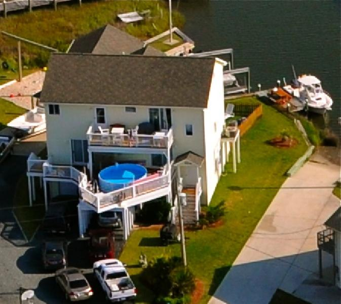 104 Bay Court from air - Bay Court 104 Oceanview! | Private Pool, Hot tub, Internet, Pet Friendly, Game Equipment, Boat Launch - North Topsail Beach - rentals