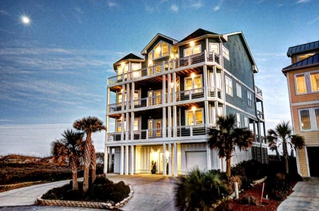 Twilight Shot - Ocean View Ln 100 Oceanfront! | Private Pool, Hot Tub, Elevator, Game Equipment, Pet & Wedding Friendly - North Topsail Beach - rentals