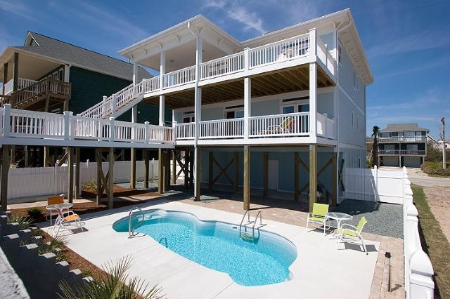 From the beach - S. Shore Drive 1614 Oceanfront! | Private Pool, Hot Tub, Elevator, Jacuzzi - Surf City - rentals