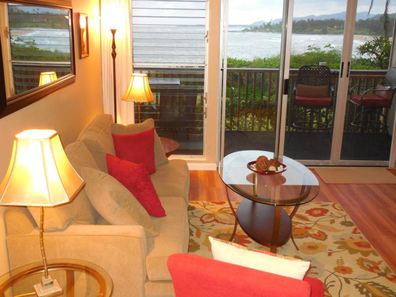 Watch and listen to the ocean waves from your private Lanai or from the living room - Beautiful OCEANFRONT Kauai Condo - Kapaa - rentals