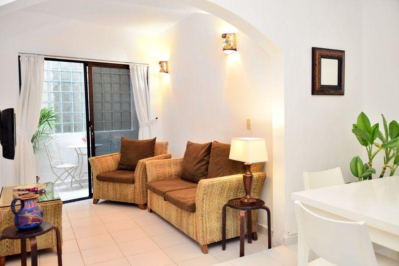 living area connected to small patio - Mamitas Beach,Great Location Remodeled 1 bedroom C - Playa del Carmen - rentals