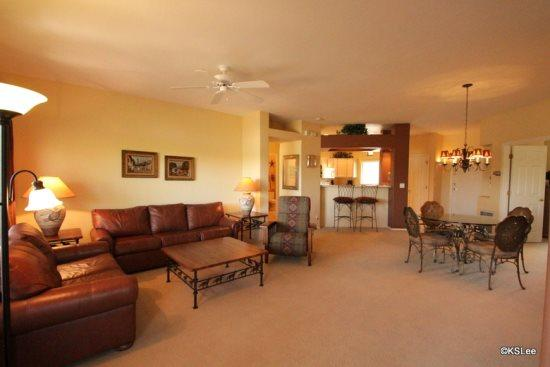 Spacious living room open to dining and the kitchen - Open for April! Spacious, Three Bedroom, Upstairs Condo at Vistoso Casitas, in Building 15, with Pool Views - Oro Valley - rentals