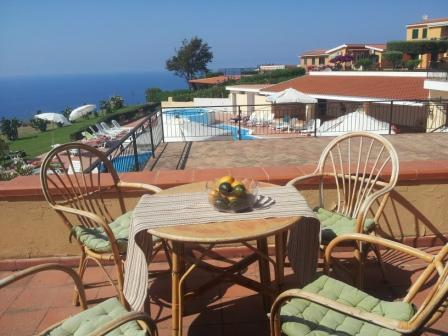 Sun terrace infront of the apartment - Comfortable, homely studio with stunning views. - Parghelia - rentals