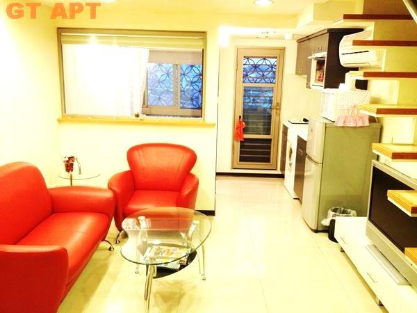 Living Room features leather sofa and LCD TV - 2 Floor Luxury Apartment near Taipei 101 City Hall - Taipei - rentals