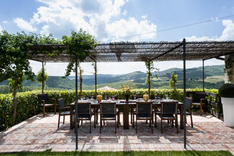 Terrace outside dining room, stunning views of Chianti - Luxury Villa in Chianti, perfect for families - Gaiole in Chianti - rentals