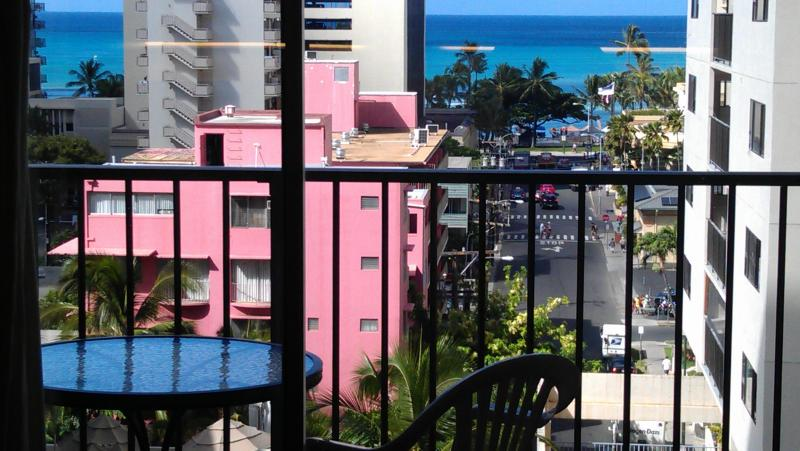 Ocean View from Front Room - LRG 1BR, Balcony Ocean View,Pool,1Blk to Beach 811 - Waikiki - rentals
