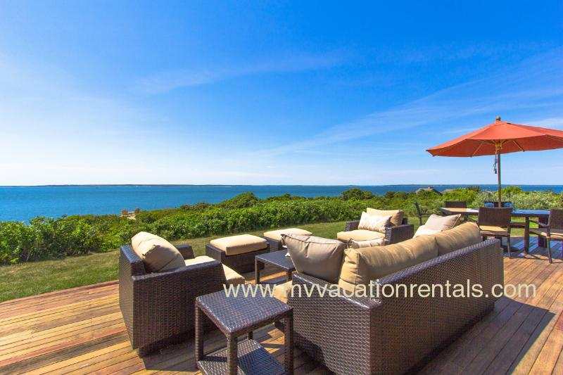 Outdoor Living and Dining Area - HERGM - Outstanding Waterfront Home, Magnificent Waterviews, Private Association Beaches, Newly Furnished - West Tisbury - rentals