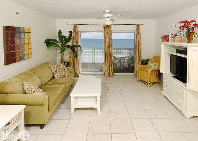 Living Room Area - Caribbean 402~Great Views,Beachfront Condo,Tile Floor~Bender Vacation Rentals - Gulf Shores - rentals