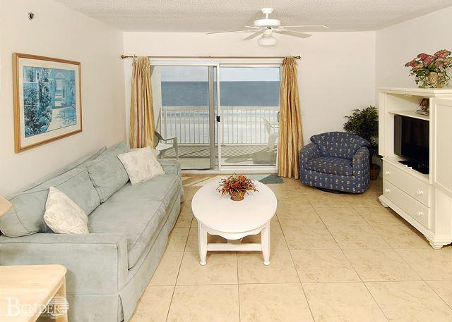 Living Room Area - Caribbean 404~W. Corner Beachfront Condo, Great Views~Bender Vacation Rentals - Gulf Shores - rentals