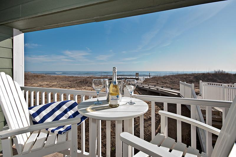 Oceanfront balcony terrace - Oceanfront 1BRCondo Premier Resort KDH Pool, Spa at First Flight Retreat OBX - Kill Devil Hills - rentals