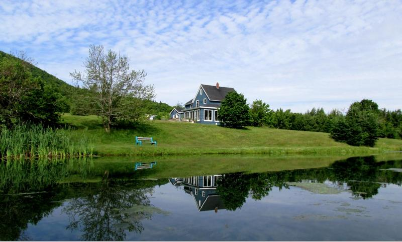 Old Miller Farm, view of Main house from across the U fish pond. - Old Miller Trout Farm Guest House - Margaree Forks - rentals