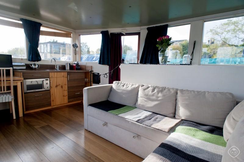 Living Room Bamboo Houseboat Apartment Amsterdam - Bamboo houseboat Amsterdam - Amsterdam - rentals