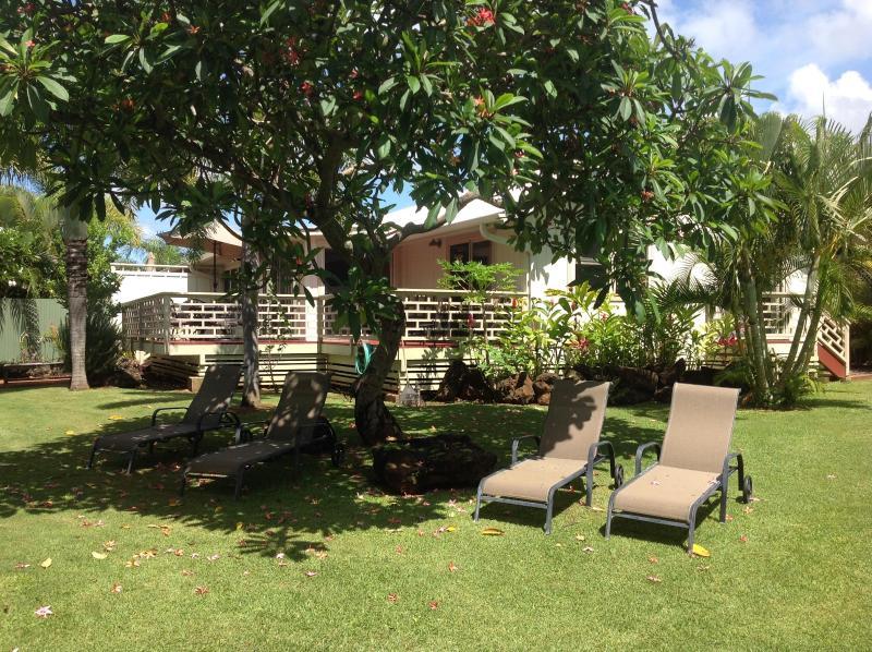 1/2 acre tropical garden with massive plumeria shading the lounge area - POIPU BEACH PLANTATION COTTAGE - Koloa - rentals