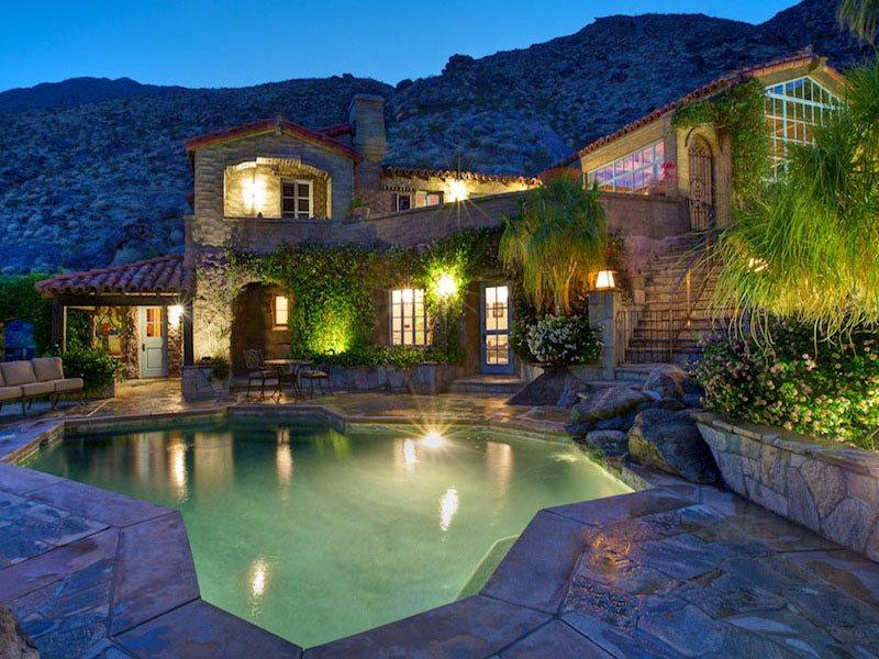 Saltwater Pool  Spa at Night - Colony 29 Resort - 8 Bedroom Main House Grouping - Palm Springs - rentals