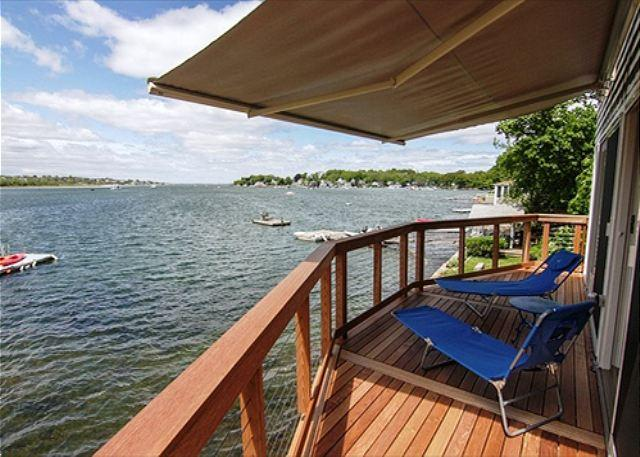 Deck over the river - River Breezes: Direct riverfront with incredible sunsets - Gloucester - rentals