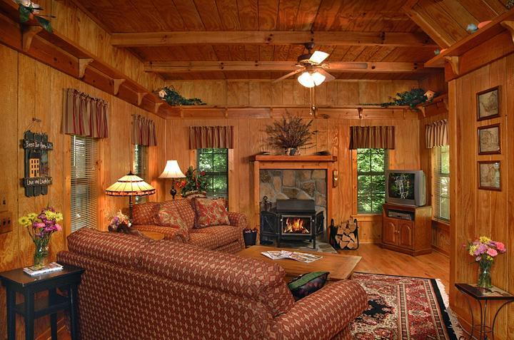 Living Room - Comfy Seating - Satellite TV - DVD/VCR - Stereo - Cottontail Cottage in the Woods - NE GA Mountains - Clayton - rentals